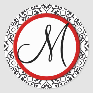 Black and White Damask Red Trim Wedding Seal Classic Round Sticker