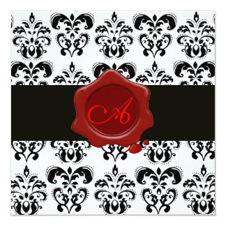 BLACK AND WHITE DAMASK, RED WAX SEAL MONOGRAM, 5.25X5.25 SQUARE PAPER INVITATION CARD
