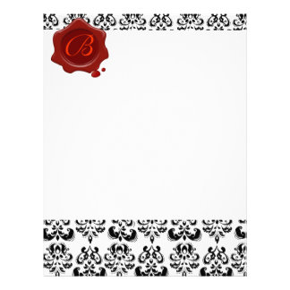 BLACK AND WHITE DAMASK , RED WAX SEAL MONOGRAM LETTERHEAD