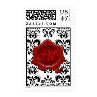 BLACK AND WHITE DAMASK RED WAX SEAL MONOGRAM, POSTAGE