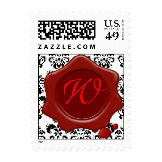 BLACK AND WHITE DAMASK RED WAX SEAL MONOGRAM, STAMPS