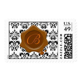 BLACK AND WHITE DAMASK RED WAX SEAL MONOGRAM, POSTAGE STAMPS