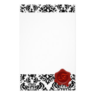 BLACK AND  WHITE DAMASK , RED WAX SEAL MONOGRAM STATIONERY