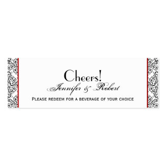 Black and White Damask Red Wedding Drink Ticket Double-Sided Mini Business Cards (Pack Of 20)