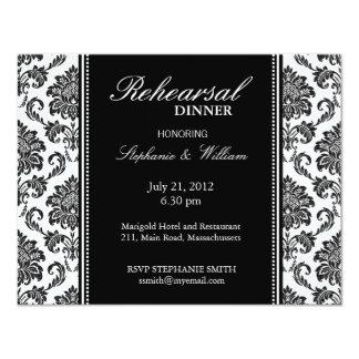 Black and White Damask Rehearsal Dinner Card