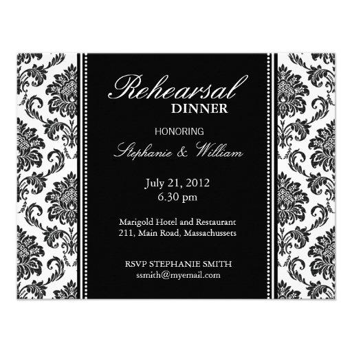 Black and White Damask Rehearsal Dinner Card Custom Announcements