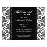 "Black and White Damask Rehearsal Dinner Card 4.25"" X 5.5"" Invitation Card"