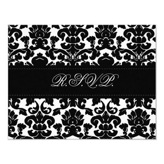 Black and White Damask Reply Card