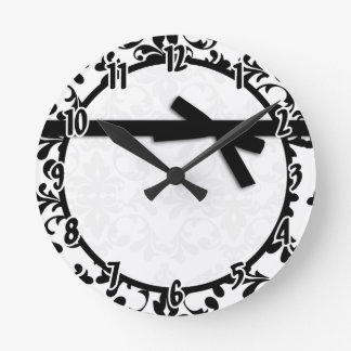 Black and White Damask Ribbon Clock