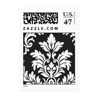 Black and White damask right Postage