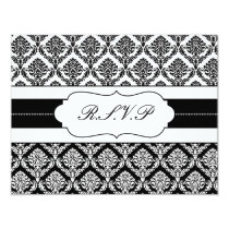 """black and white"" damask  rsvp card"