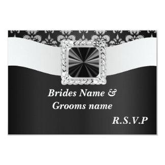 Black and white damask rsvp card