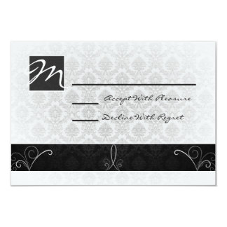 Black and White Damask RSVP Card Personalized Invitations