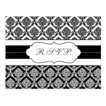 """black and white"" damask  rsvp postcard"