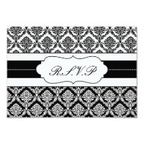 """black and white"" damask   rsvp standard 3.5 x 5 card"