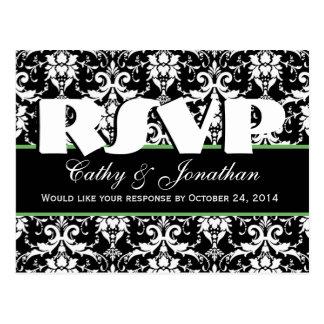 Black and White Damask RSVP Wedding Response V6 Postcard