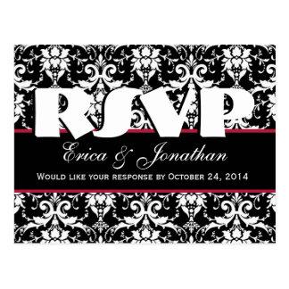Black and White Damask RSVP Wedding Response V7 Postcard