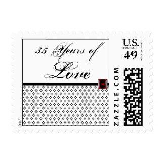Black and White Damask Ruby Anniversary Love Stamp