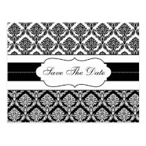 """black and white damask save the date announcement postcard"