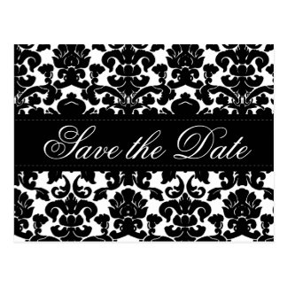Black and White Damask Save the Date Card