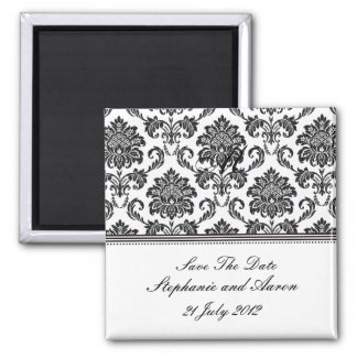 Black and White Damask Save The Date 2 Inch Square Magnet