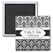"""black and white"" damask Save the date magnet"