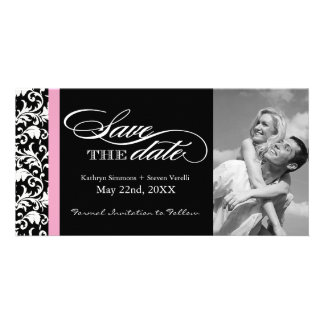 Black and White Damask  Save The Date Photo Card