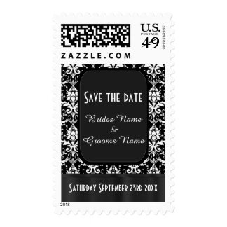 Black and white damask save the date stamp