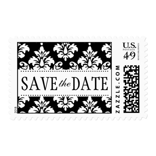 Black and White Damask Save the Date Postage