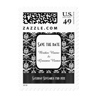 Black and white damask save the date postage stamp