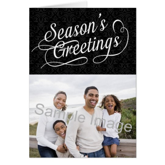 Black and White Damask Season's Greetings Card