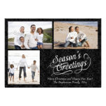 Black and White Damask Season's Greetings Announcement