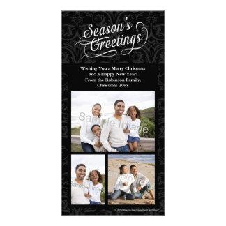 Black and White Damask Season's Greetings Custom Photo Card