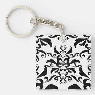 Black and White Damask Single-Sided Square Acrylic Keychain
