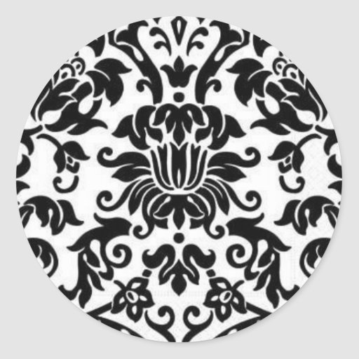 Black and White Damask Stickers