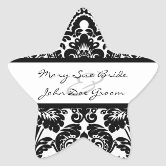 Black and White Damask Stickers for Invitations