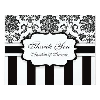 Black and White Damask Stripe Wedding Thank You Card