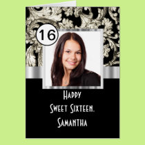 Black and white damask sweet sixteen card