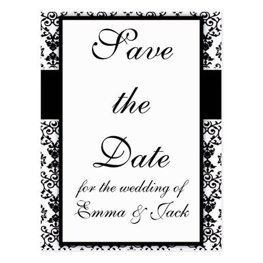 black and white damask swirl design pattern postcard