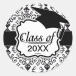 black and white damask swirl graduation classic round sticker