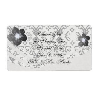 black and white damask swirl shipping label