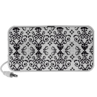black and white damask swirl notebook speakers