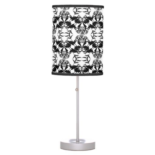 black and white damask table lamp zazzle. Black Bedroom Furniture Sets. Home Design Ideas