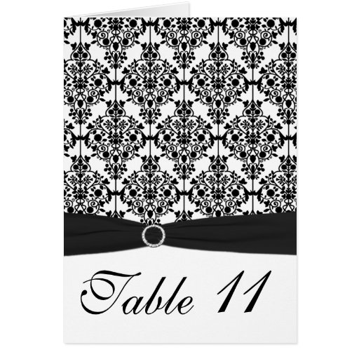 Black and White Damask Table Number Card