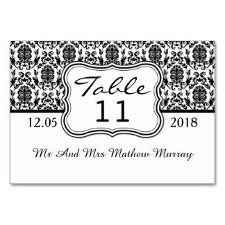 Black and white damask Table Number Place card
