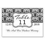 Black and white damask Table Number Place card Table Card