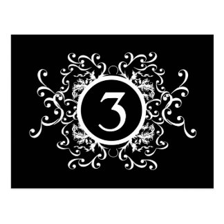 Black and White Damask Table Number Postcard