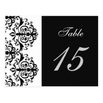 """black and white"" damask table numbers postcards"