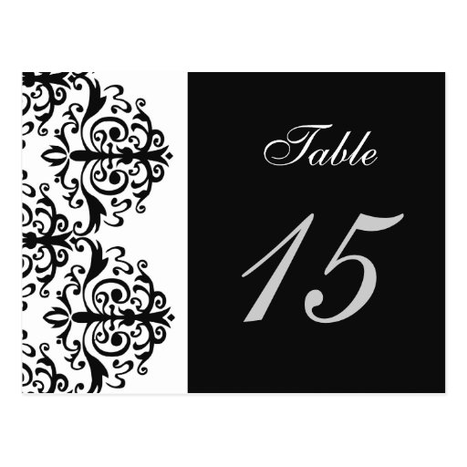 """""""black and white"""" damask table numbers postcards"""