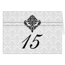"""black and white"" damask table seating card"